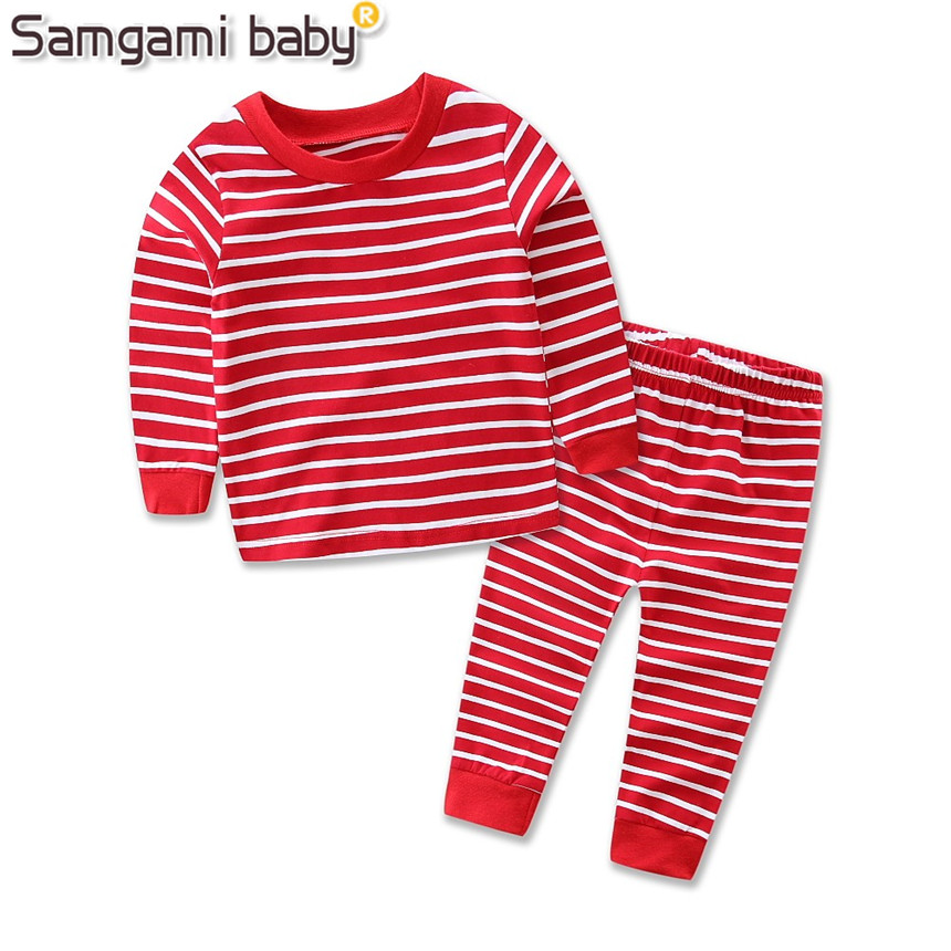 Ins SAMGAMI BEBÉ Primavera Ropa Para Niños Set Boys camiseta + Pantalones Rayado
