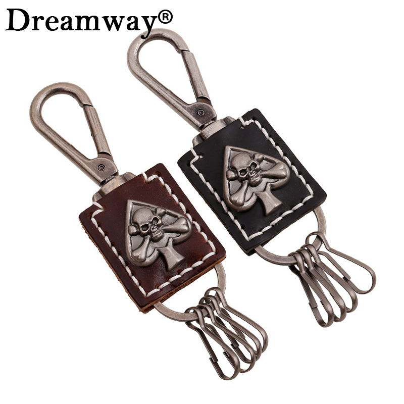 Poker Keychains Heart Skeleton Leather Accessories Cool Skull Bag Charms Skull Keychains Mens Womens Punk Jewelry