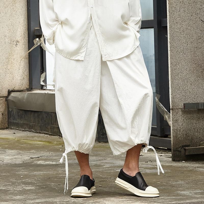 Men Cotton Linen Wide Leg Skirts Pants 1