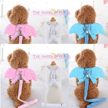 pet dog collar Vest Harness and Leashes set Cute Angel Wing rhinestones Decorated quick release Collar Chest Strap
