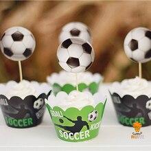 24 шт. Дети День Рождения вечерние обертки для украшения кексов сувениры футбол кекс топперы выбор AW-0023
