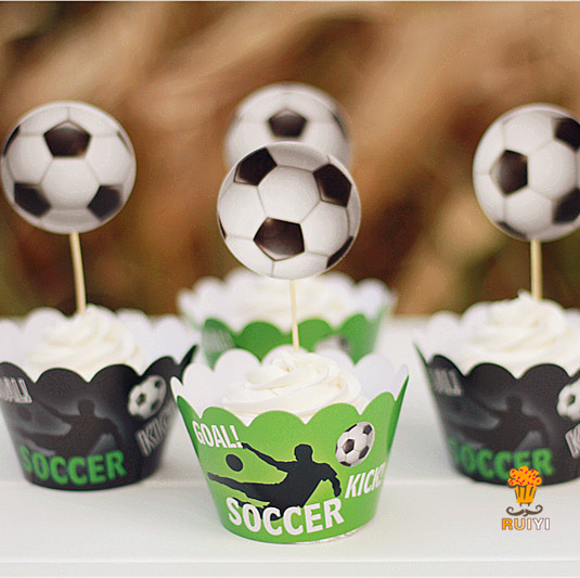 24pcs Kids Birthday Party Decoration Cupcake Wrappers Favors Soccers Football Toppers Picks AW 0023