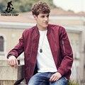 Pioneer camp 2017 chegada nova primavera jaquetas masculinas moda sólidos casacos masculino casual slim fit gola jaqueta casaco vermelho