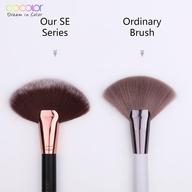 Docolor 1PCS Soft Makeup Large Fan Brush Foundation Blush Blusher Powder Highlighter Brush Powder Brushes Cosmetic Brushes 2