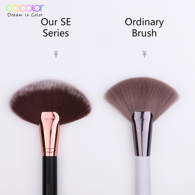 Docolor 1PCS Soft Makeup Large Fan Brush Foundation Blush Blusher Powder Highlighter Brush Powder brushes Cosmetic Brushes 1