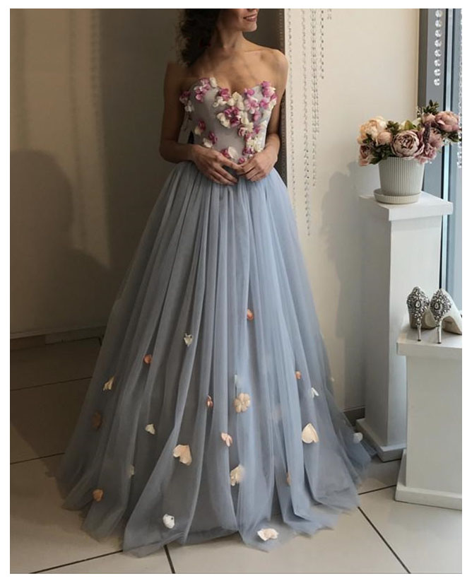 LORIE Plunging 3D Flowers   Evening     Dress   Party Gowns Robe De Soiree Side Split Prom   Dresses   Beading Top   Evening   Gowns