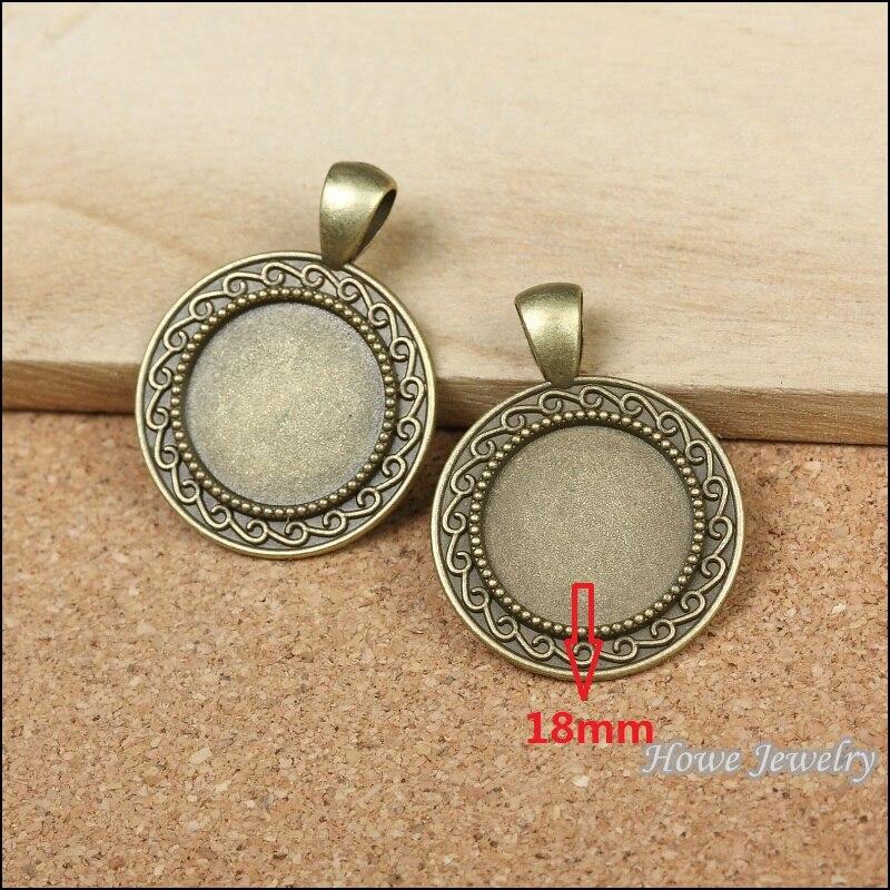 e94ca35d0ee5 Al por mayor 25 unids vendimia Amuletos marcos redondos colgante de bronce  antiguo fit collar de las pulseras DIY metal fabricación de joyas