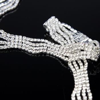 5Yards Bridal Wedding Silver Golden Rhinestones Chain Applique Craft Diamante Applique Accessories