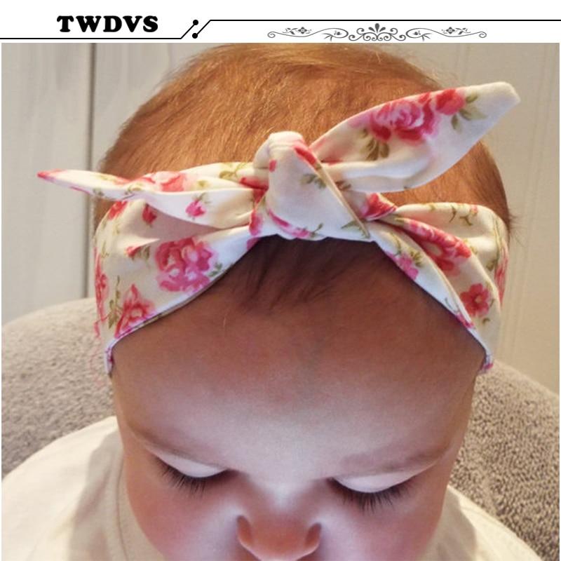TWDVS Børn Blomster Kaninørne Hårbånd Nyfødt Bomuld Wrap Elastisk pandebånd Ring Blomst Hårtilbehør W230