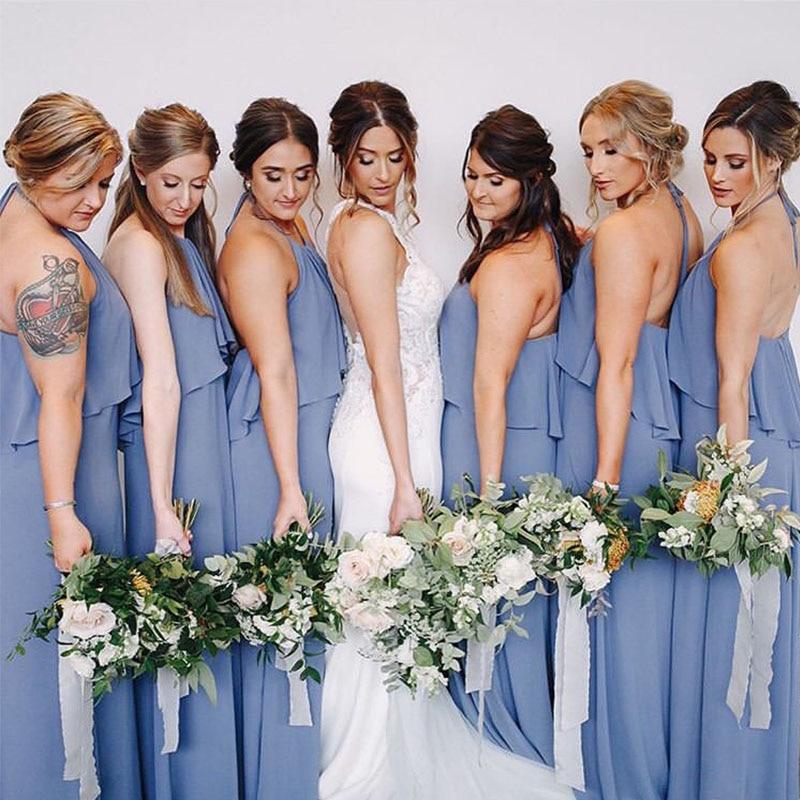 Vestido De Novia Long Blue Grey Chiffon   Bridesmaid     Dresses   Halter Ruffles Full Length Casual Beach   Dresses   Wedding Guest   Dresses