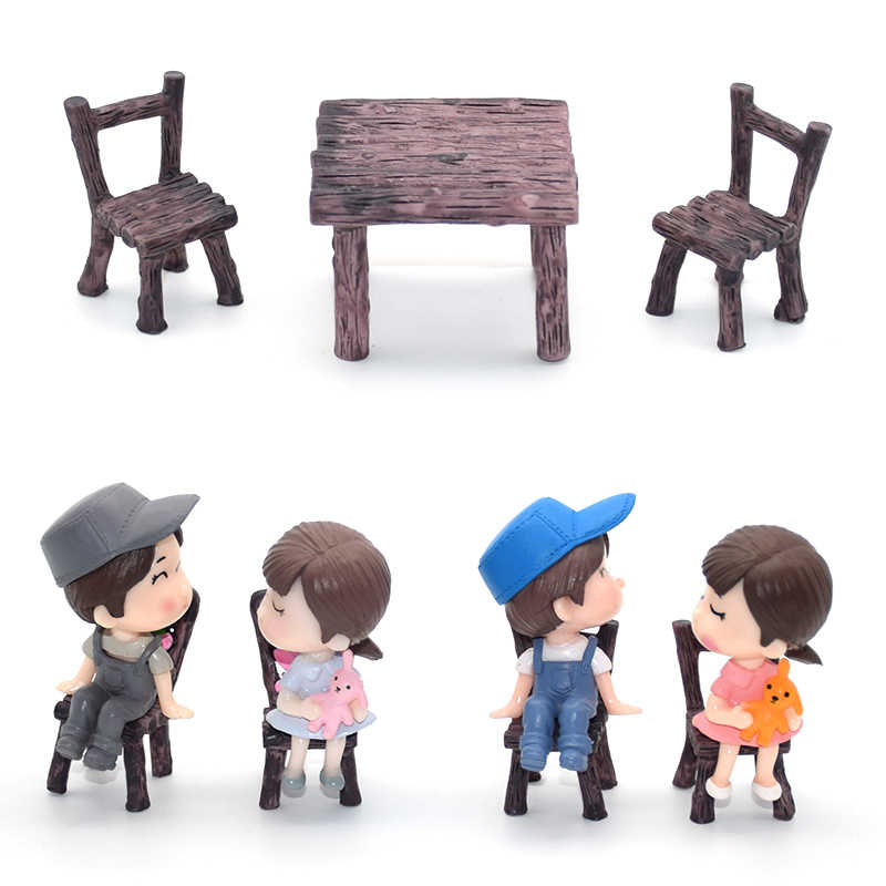 3Pcs/Set Fairy Garden Table Chair Figures Miniature Landscape Resin Ornaments Figurine For Plants Bonsai Decoration