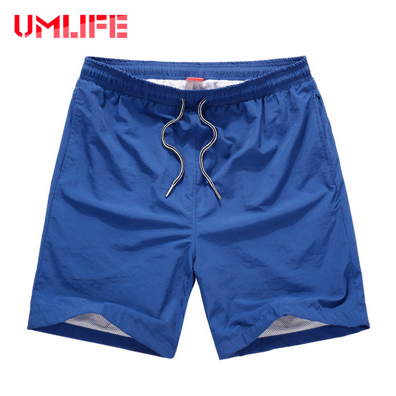 2019 Summer Beach Shorts Men Quick Drying Solid Color Board Shorts Mens Swimming Shorts Pocket Male Loose Boardshorts Plus Size