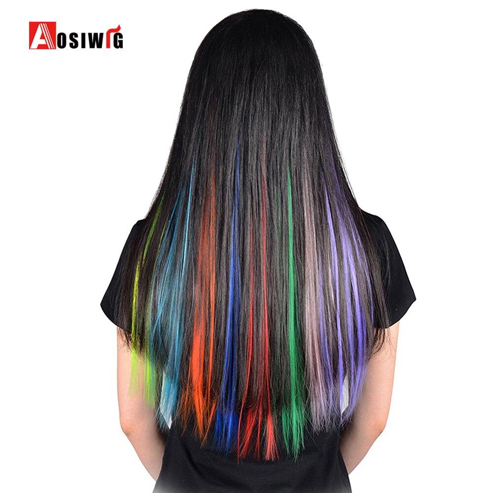 AOSIWIG Kırmızı Pembe Mor 19 Renkler 1 Klip-In Saf Renk Uzun Düz - Sentetik Saç - Fotoğraf 2