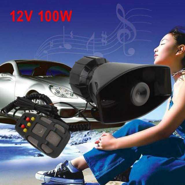 HOT 100W 7 Sound Car Electronic Warning Siren Motorcycle Alarm Firemen Ambulance Loudspeaker With MIC