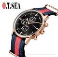 O. T. MAR Marca Popular Moda Relógio Cinta de Nylon Mulheres Homens Quartzo relógio de Pulso Militar Relógio hombre 40mm