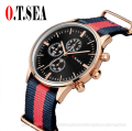 O.T.SEA Brand Popular Fashion Nylon Strap Watch Women Men Military Quartz Wristwatch Clock hombre 40mm