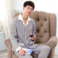 High Quality Men's Pajamas Spring Autumn Long Sleeve Sleepwear Cotton Plaid Pyjamas Men Lounge Pajama Sets Sleepwear 040