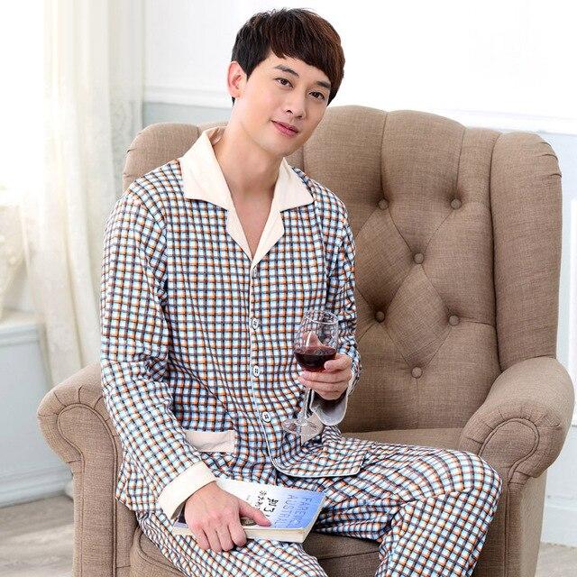 High Quality Men's Pajamas Spring Autumn Long Sleeve Sleepwear Cotton Plaid Pyjamas Men Lounge Pajama Sets Sleepwear 040