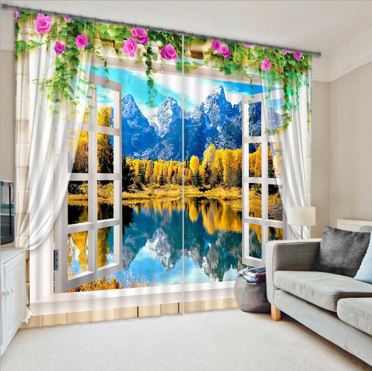 Qualité supérieure 3D impression parasol fenêtre rideau pour bureau chambre salon rideaux en trois dimensions paysages Cortians