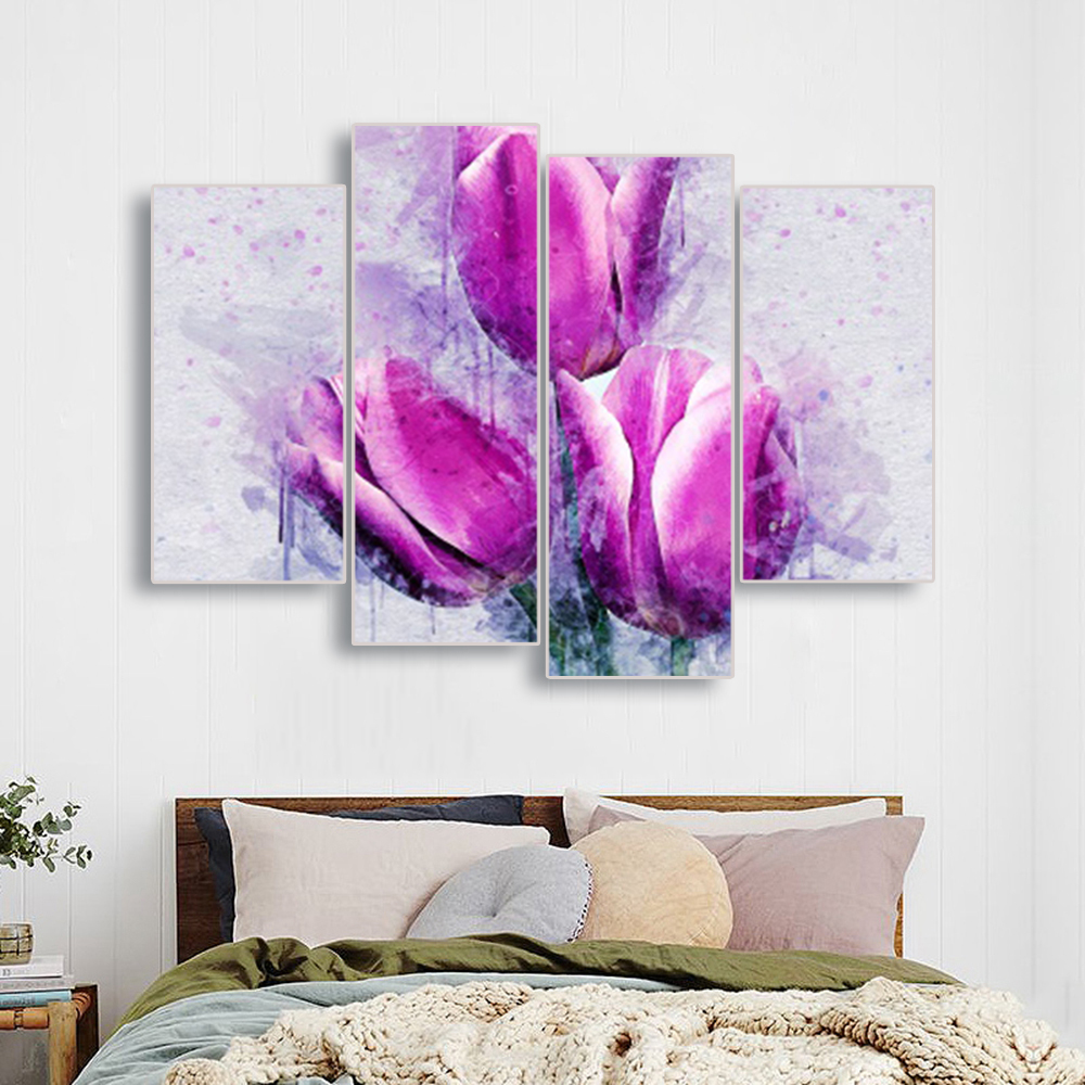 Laeacco 4 Panel Nordic Calligraphy Painting Flowers Canvas Posters and Prints Watercolor Tulip Wall Art Home Living Room Decor in Painting Calligraphy from Home Garden