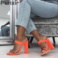 Women 2019 New Summer Sandals Slippers Thin High Heels Sandals Flip Flop Buckle Hollow Women Shoes Hollow Slippers Sexy Slides