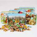 Kids Toys 60 pcs/set Iron Box Wooden Puzzles Child's Jigsaw Puzzle Toddlers Educational Toys for Children Free Shipping