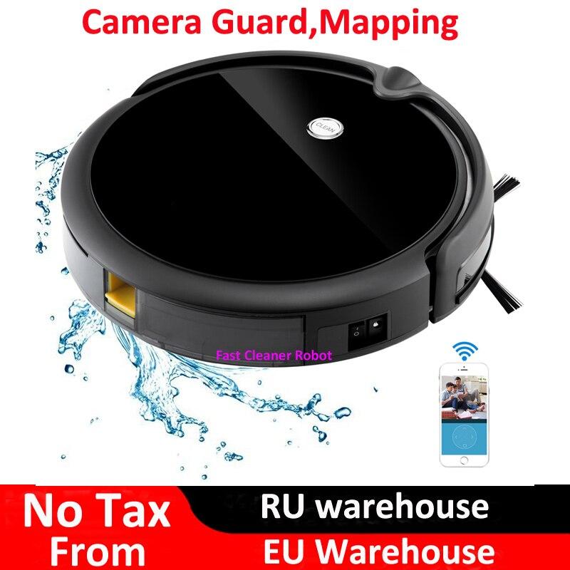 Caméra moniteur vidéo Robot aspirateur nettoyage à sec et humide avec Navigation sur carte, contrôle d'application WiFi, mémoire intelligente, réservoir d'eau