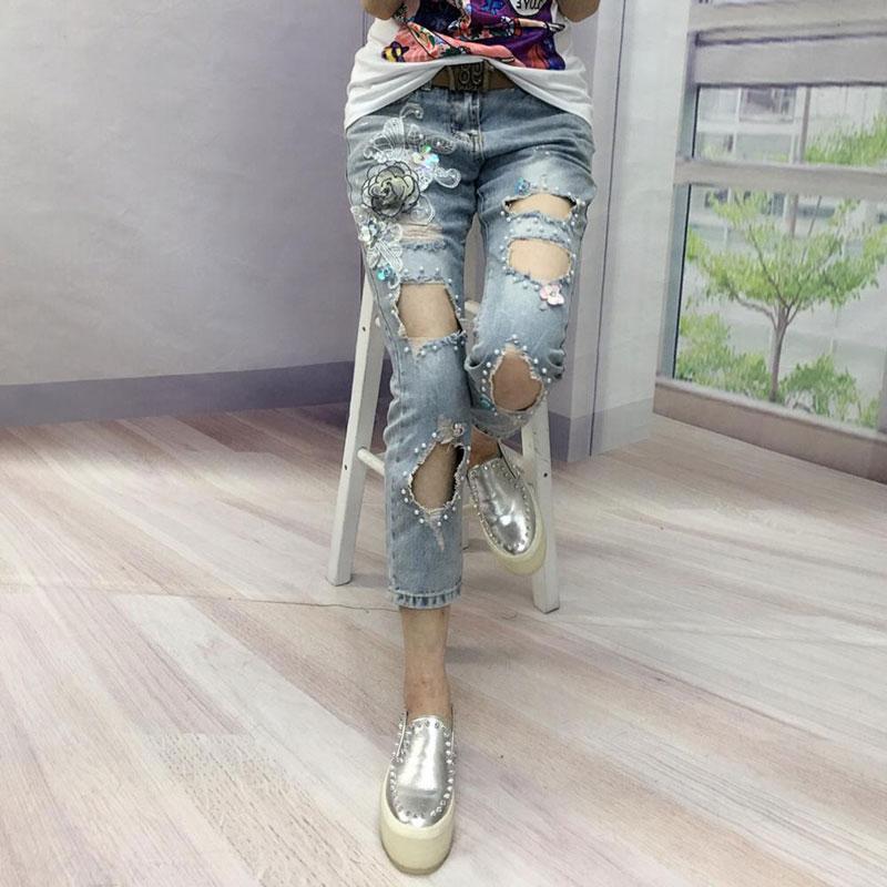 Pantalones Azul Jeans New2018 High Pantorrilla Suelta Denim Rebordear Street Sexy Agujero Mujer Europa Verano Longitud Vintage Moda Mujeres Personalidad ASTPxUq