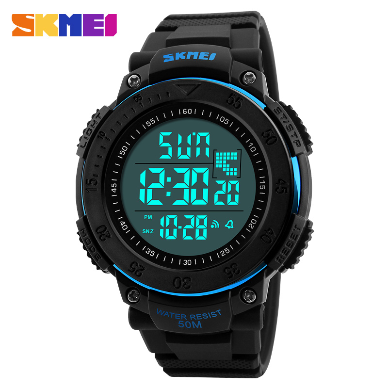 <font><b>SKMEI</b></font> Brand <font><b>1238</b></font> Men Sports Electronic Watches 3D Pedometer Multifunctional Waterproof LED Digital Wristwatch Relogio Masculino image