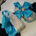 Бесплатная доставка синий бантом AB rhinestone Кристаллическое Девочка обувь ручной работы Bling Bling алмазная мягкие Первые Ходунки цветы обувь