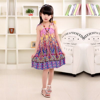 Summer-Bohemian-Style-Girls-Dress-Floral-Shoulderless-Beading-Necklace-Sundress-For-Girls-Beach-Dress-Clothes-Vestido-Infantil-2