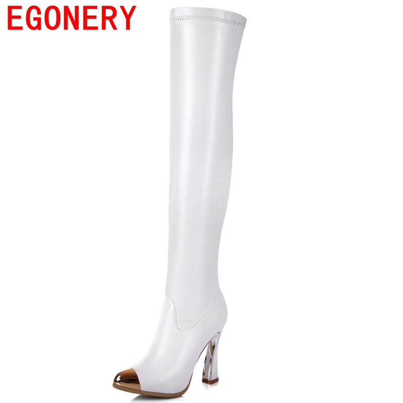 ФОТО EGONERY shoes 2017 europe and america classic black shoes queen side zipper over the knee boots high quality round toe fashion