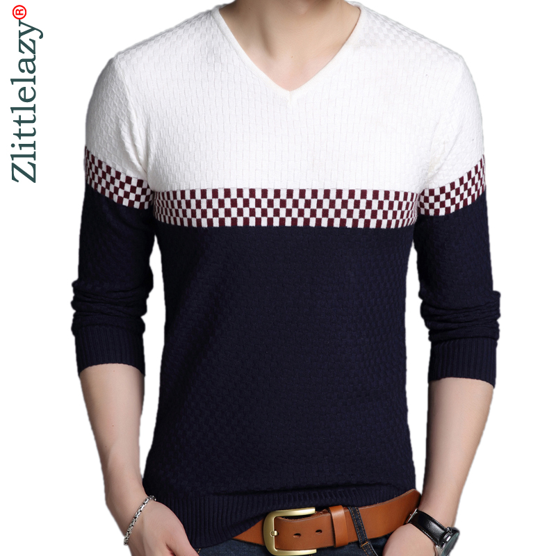 2019 Designer Pullover Stitching Men Sweater Mens Thick Winter Warm Jersey Knitted Sweaters Mens Wear Slim Fit Knitwear 53011