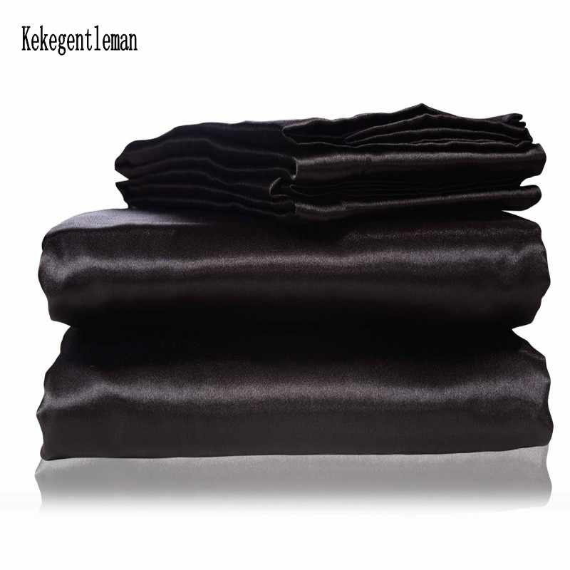 Satin Black Silk Bedding Set With Duvet Cover Bed Sheet Pillow Cover Luxury Satin Bedding Bed Linen King Queen Twin Size