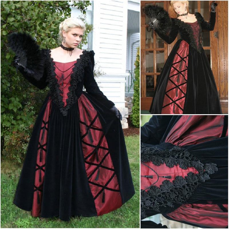 US $182 4 20% OFF|History!Customer made Black Victorian dress 1860s Civil  war Dress Scarlett Theater Costume Halloween Renaissance Dress V 511 on