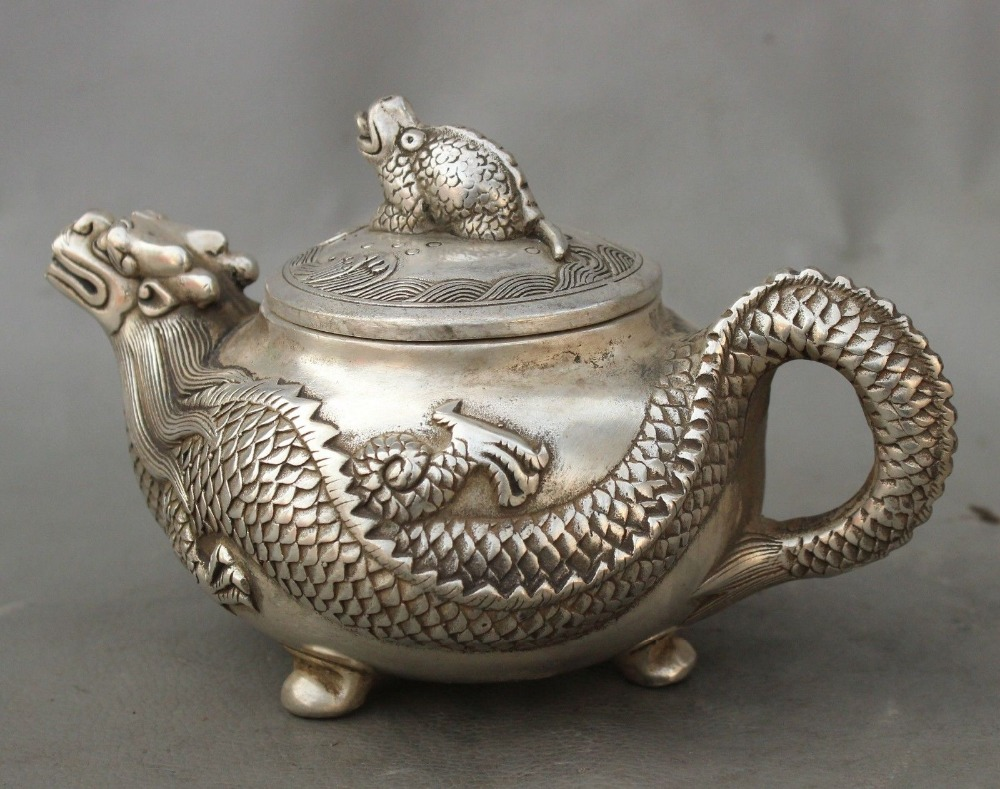 Marked Chinese Palace Silver Wealth Toad Dragon Statue Teapot Wine Pot Flagon