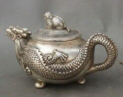 Oznaczono chiński pałac srebrny bogactwo ropucha posąg smoka czajniczek naczynie do wina Flagon