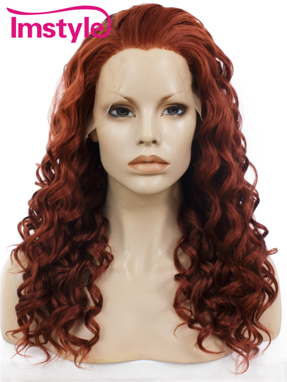 ФОТО Imstyle curly synthetic lace front wine red 20