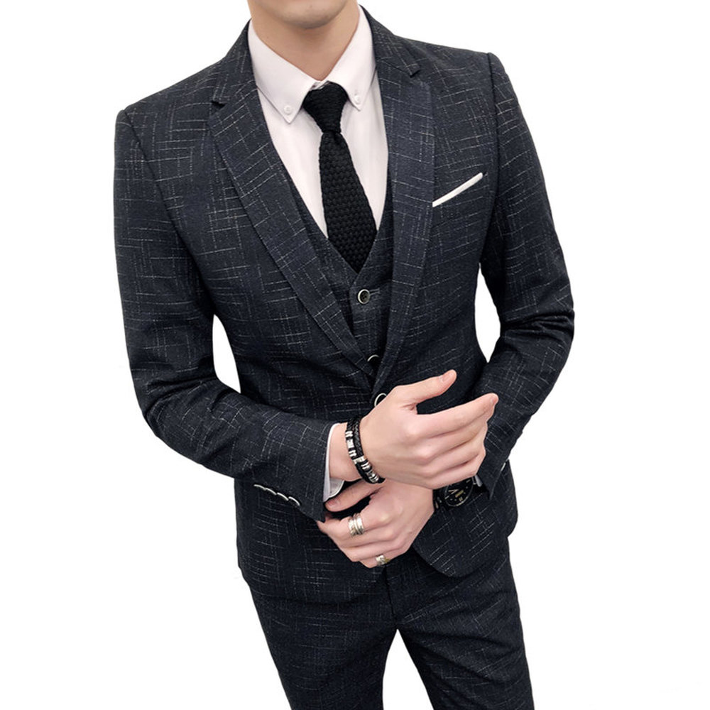 2018 Men's Cultivate One's Morality Type Professional Leisure Groomsman Wedding Dress Suit The Groom Lattice Suits Three Pieces