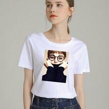 Fashion Women T-Shirt Big Plus Size Tshirt Femme Print Sweater Girl T Shirt Top White Female Tops Short Tee Shirt Funny Girl недорого