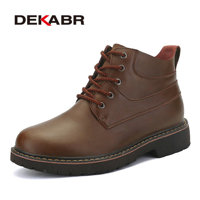 DEKABR Men Winter Boots High Quality Genuine Leather Snow Boots Men Warm Working Shoes Men Waterproof Ankle Boots Size 38~44
