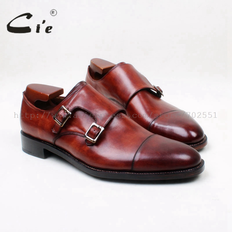 cie Round Cap Toe Hand-Painted Brown Patina Double Monk Straps 100% Genuine Calf Leather Breathable Outsole Men Shoe MS139 cie round toe wing tips single monk straps hand painted brown 100%genuine calf leather breathable bottom outsole men shoems129