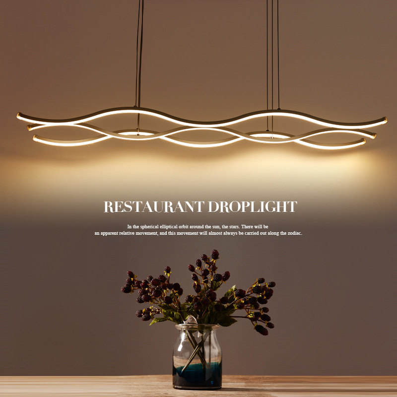 Modern Aluminum Wave Pendant Light Kitchen Island Dining Room White Pendant Lamp for Cafe Bedroom Suspension Hanging Light factory cheap amber smoky gray red coffee blue glass pendant lamp pendant light edison bulb bedroom dining room cafe kitchen bar