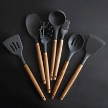 1Pc Food Grade Silicone Kitchen Set Spatula Colander Heat-resistant Soup Spoon Non-stick Special Cooking Shovel Tools