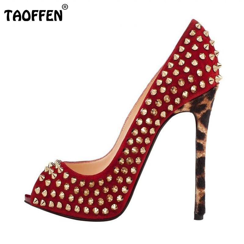 ФОТО Women High Heel Shoes Open Peep Toe Pumps Sexy Rivets Brand Wedding Party Dress Shoes Lady Heels Vintage Footwear Size35-46 B205