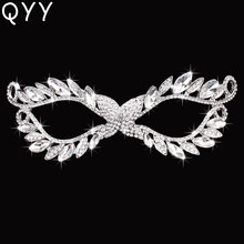 QYY Classic Rhinestone Alloy Masquerade Masks Women Ladies for Party Face Jewelry Decorations