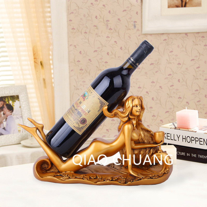 NEW 35CM Europe Fashion Wine Holder Home Artistic Decorative Bottle Wine Holder Sexy beauty Bottom Wine Rack Rsin Crafts S409 the new pink wine rack high end modern soft furnishings personalized pink wine resin crafts big quantity best price