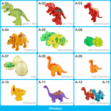 Jurrassic Dinosaur Animal Series Model Figures Big Building Blocks Animals Educational Toys For Kids Compatible With Duploed цены