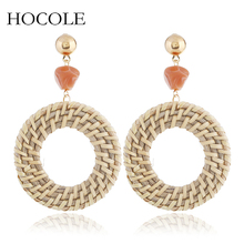 2018 Bohemian Straw Weaving Rattan Knit Hollow Out Drop Earrings For Women Beads Charm Wood Statement Jewelry Gift Pendientes цена 2017