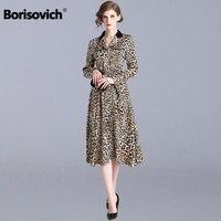 Borisovich Women Casual Long Dress New 2019 Spring Fashion Vintage Leopard Print Elegant A line Ladies Party Dresses N806